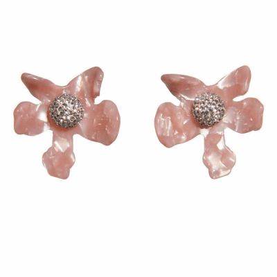 Closeup photo of Crystal Lily Button Earrings Peach