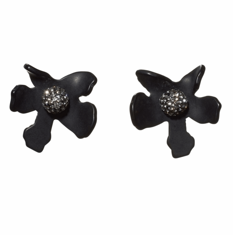 Crystal Lily Button Earrings