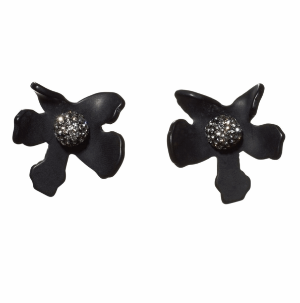 Closeup photo of Crystal Lily Button Earrings