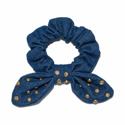 Denim Crystal Scrunchie