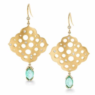 Dana Bronfman x Muzo Emeralds Oculus Agra Earrings with Marquise Emerald Drops