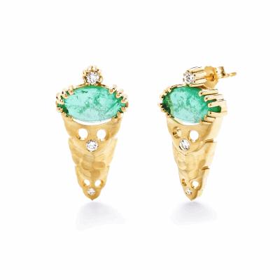 Dana Bronfman x Muzo Emeralds Marquise Agra Button Earrings