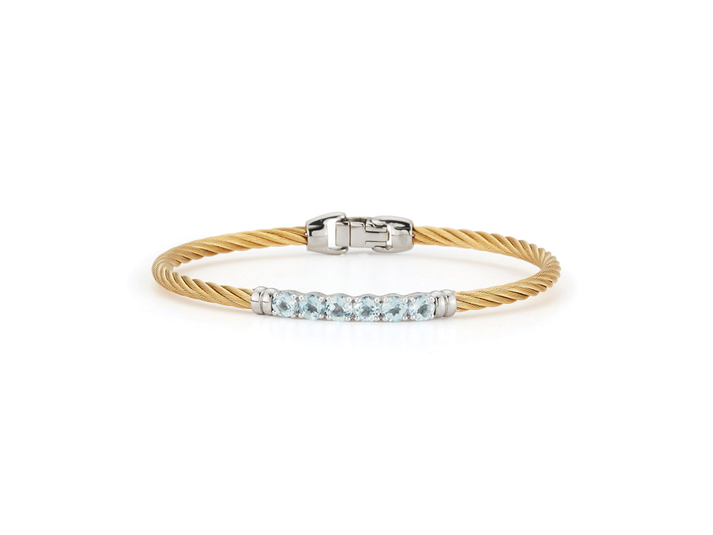 ALOR Ladies Bangle – Yellow Cable with White Gold and Blue Topaz Gemstones