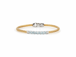 Closeup photo of ALOR Ladies Bangle – Yellow Cable with White Gold and Blue Topaz Gemstones