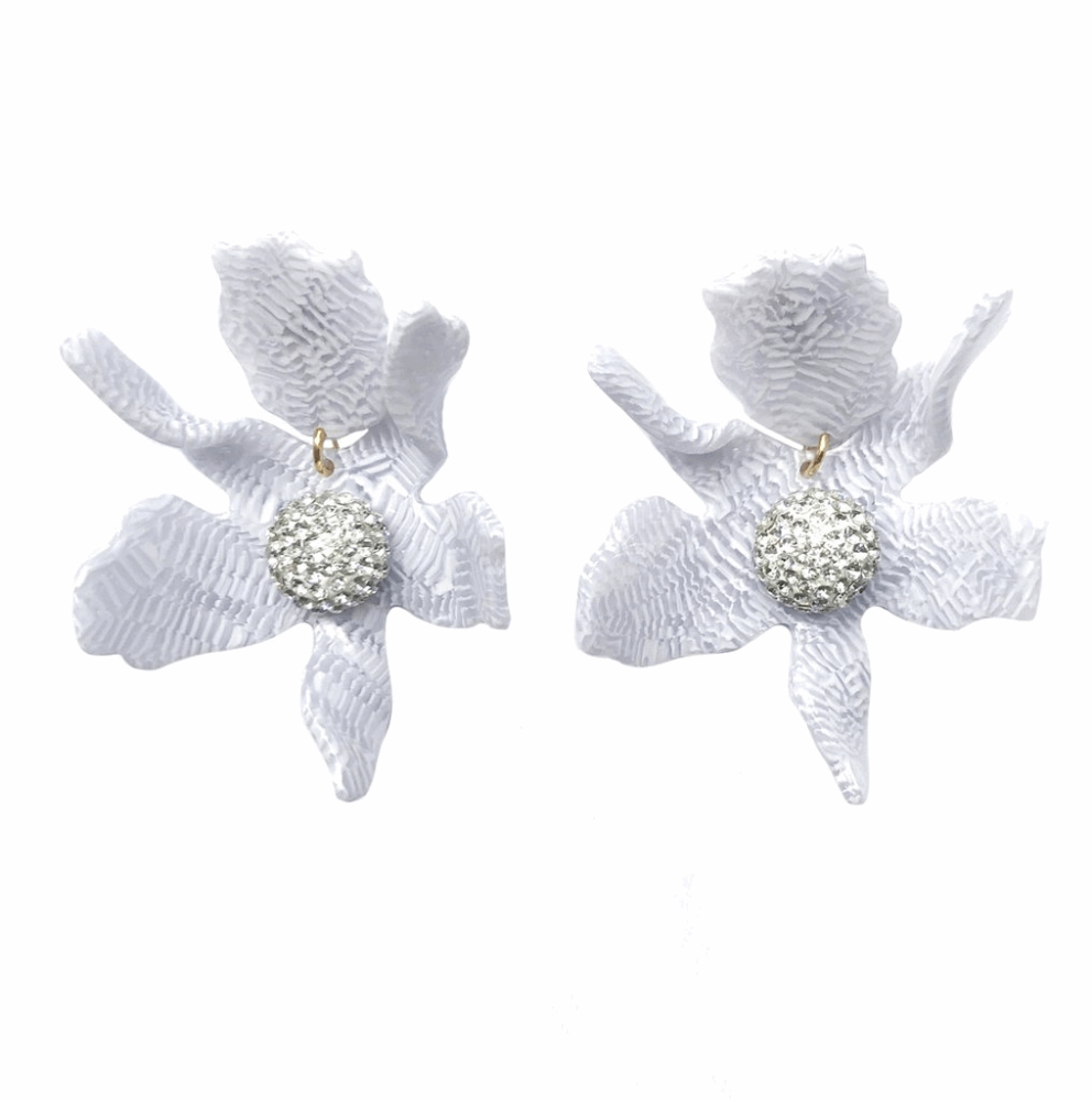 Crystal Lily Earring - White Sand