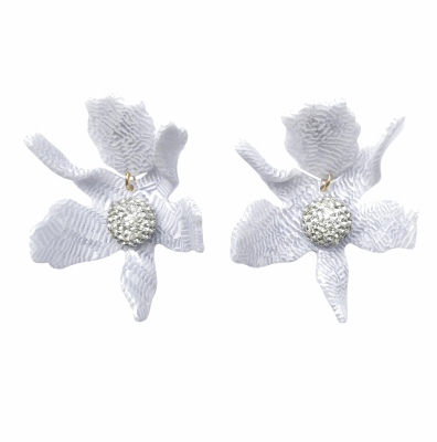 Closeup photo of Crystal Lily Earring - White Sand