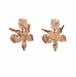 Closeup photo of Small Paper Lily Earring - Peach Blossom
