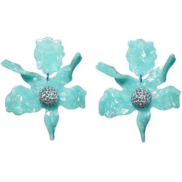 Closeup photo of Crystal Lily Earring - Aqua