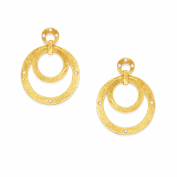 Closeup photo of Crescent Statement Earring Gold Pearl