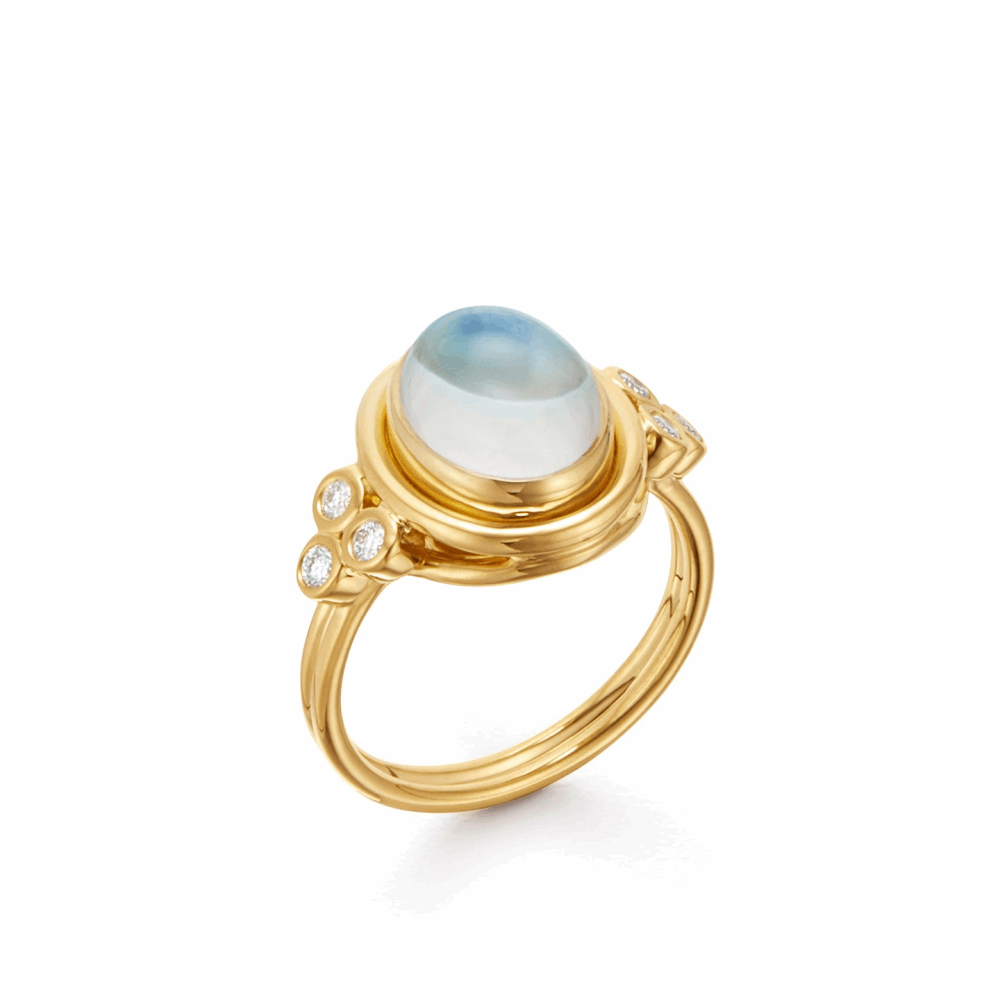18k Yellow Gold Oval Blue Moonstone Ring with Diamonds.
