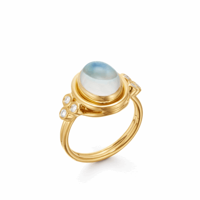 View image 2 for 18k Classic Oval Blue Moonstone Ring