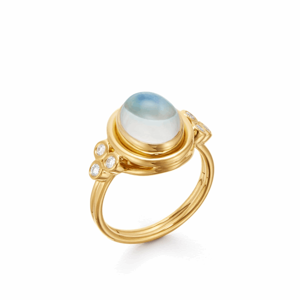 Closeup photo of 18k Yellow Gold Oval Blue Moonstone Ring with Diamonds.