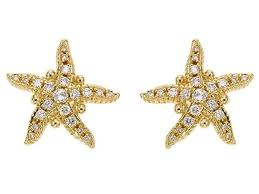 Closeup photo of 18k Pave Sea Star Earrings
