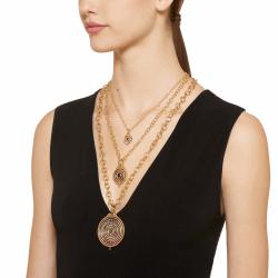 Closeup photo of 18k Three ring Tolomeo Pave mixed Sapphire Pendant