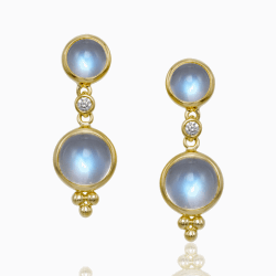 Closeup photo of 18k Double Drop Royal Blue Moonstone Earrings