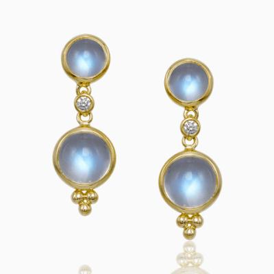 Closeup photo of 18k Double Drop Royal Blue Moonstone Earrings & Diamonds