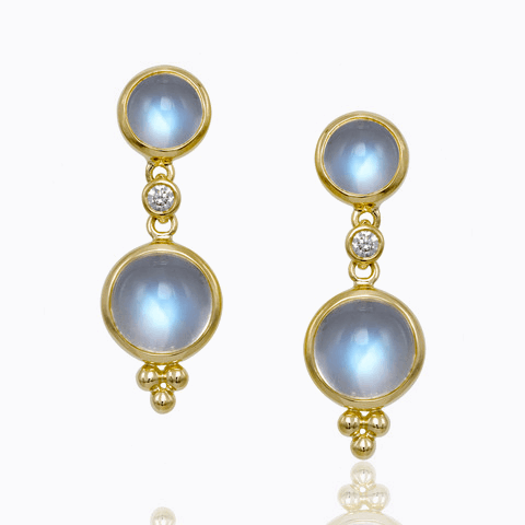 Closeup photo of 18k Double Drop Royal Blue Moonstone Earrings & Diamonds