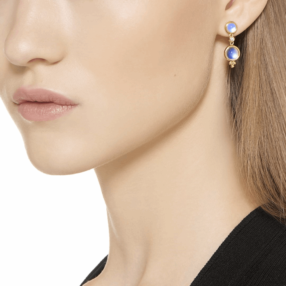 Image 2 for 18k Double Drop Royal Blue Moonstone Earrings & Diamonds