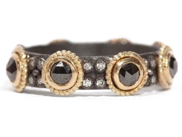 Closeup photo of Rose Cut Black Sapphire with Diamond