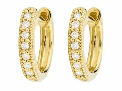 Closeup photo of Diamond Huggie Hoop Earrings Eh003-Yl
