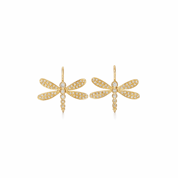 Closeup photo of 18k Dragonfly Earrings