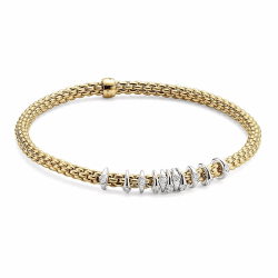 Closeup photo of Prima Yellow Gold Dew Drop Floating Diamond Rondel Station Bracelet