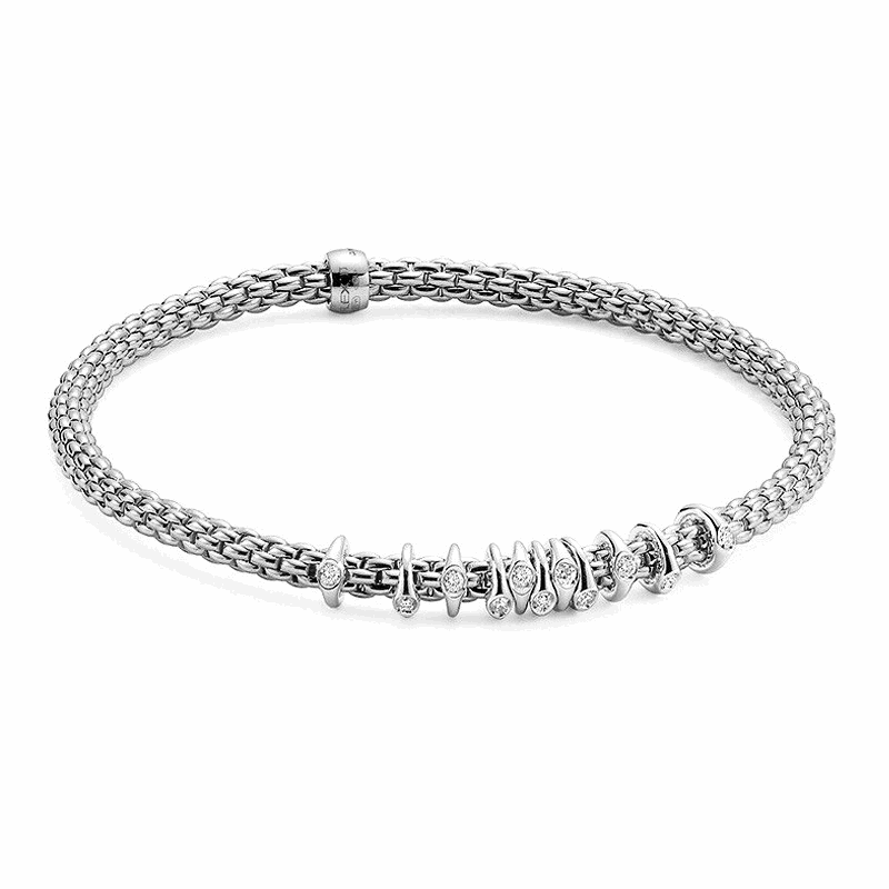 Prima White Gold Dew Drop Floating Diamond Rondel Station Bracelet