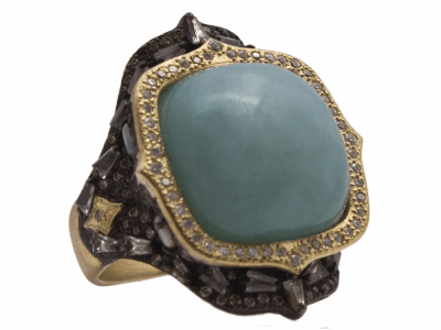 Closeup photo of 18k Aquaphrase Statement Ring - 14169