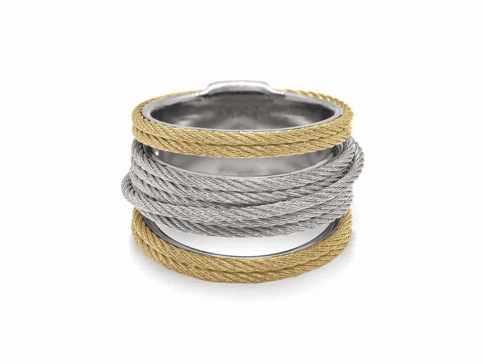 ALOR Noir Multi-Cable Separated Stack Ring in Yellow and Silver Alternating Cable - ALOR