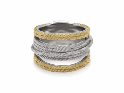 Closeup photo of ALOR Noir Multi-Cable Separated Stack Ring in Yellow and Silver Alternating Cable - ALOR