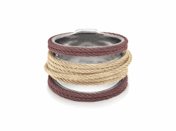 Closeup photo of ALOR Noir Multi-Cable Separated Stack Ring in Burgundy and Yellow Alternating Cable - ALOR