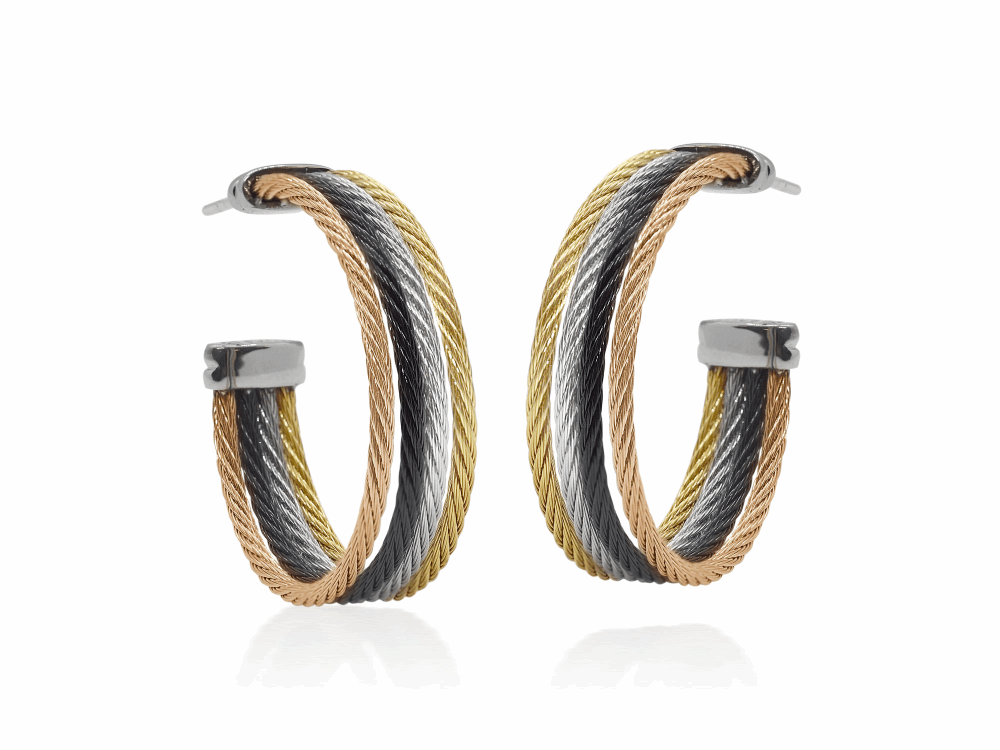 ALOR Classique Rose, Gold, Black, and Grey Cable Cuff Earrings - ALOR