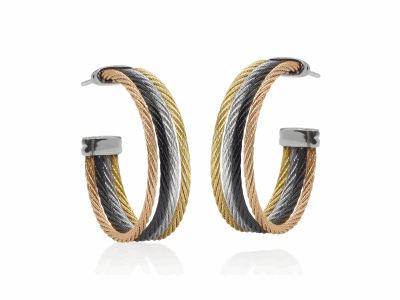 Closeup photo of ALOR Classique Rose, Gold, Black, and Grey Cable Cuff Earrings - ALOR