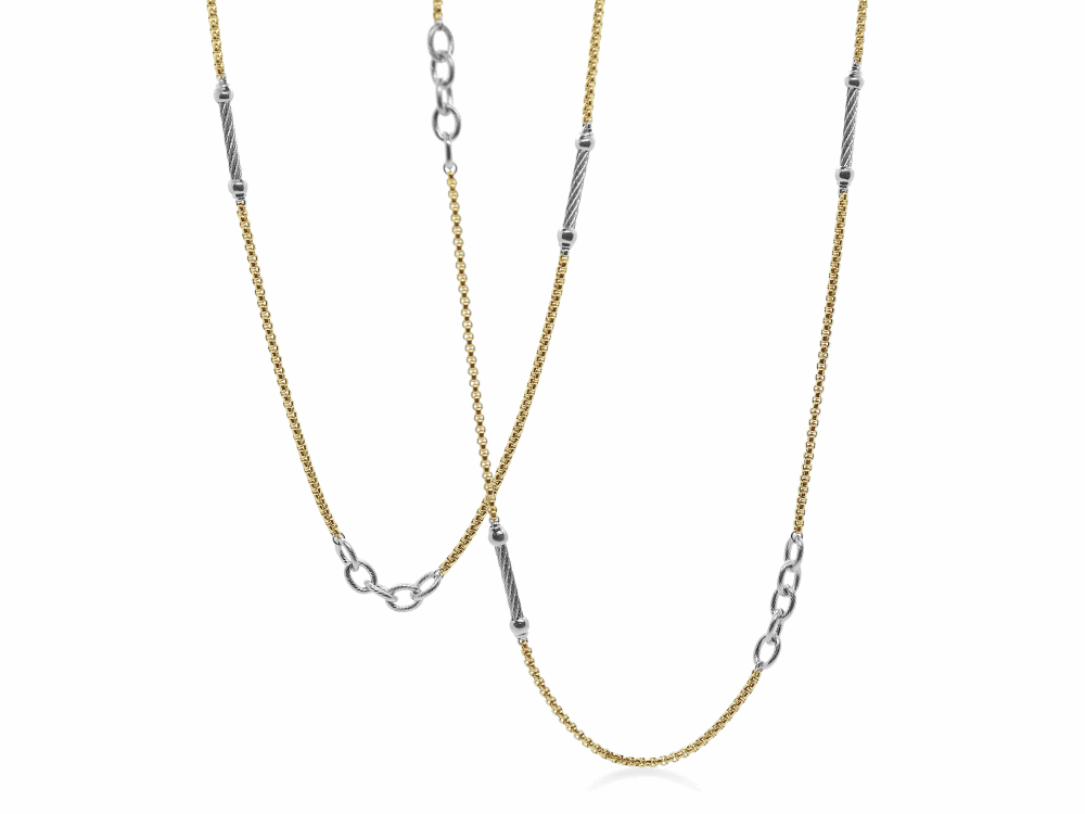 ALOR Noir Chain Reaction Yellow Stainless Steel Ball and Open Link Necklace - ALOR