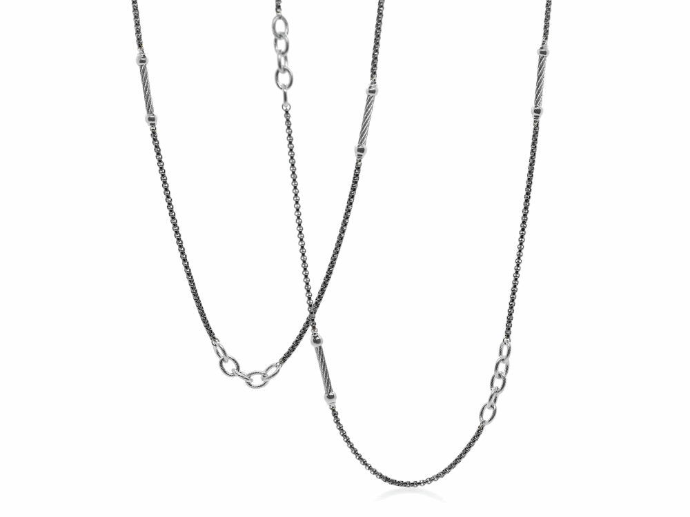 ALOR Noir Chain Reaction Grey Steel Ball and Open Link Necklace - ALOR