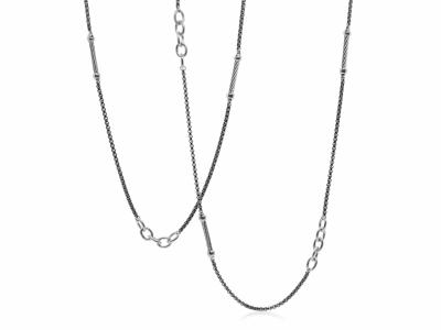 Closeup photo of ALOR Noir Chain Reaction Grey Steel Ball and Open Link Necklace - ALOR