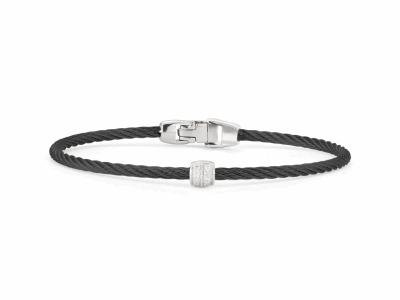 Closeup photo of ALOR Noir Black Cable Bracelet with Diamond Bead - ALOR