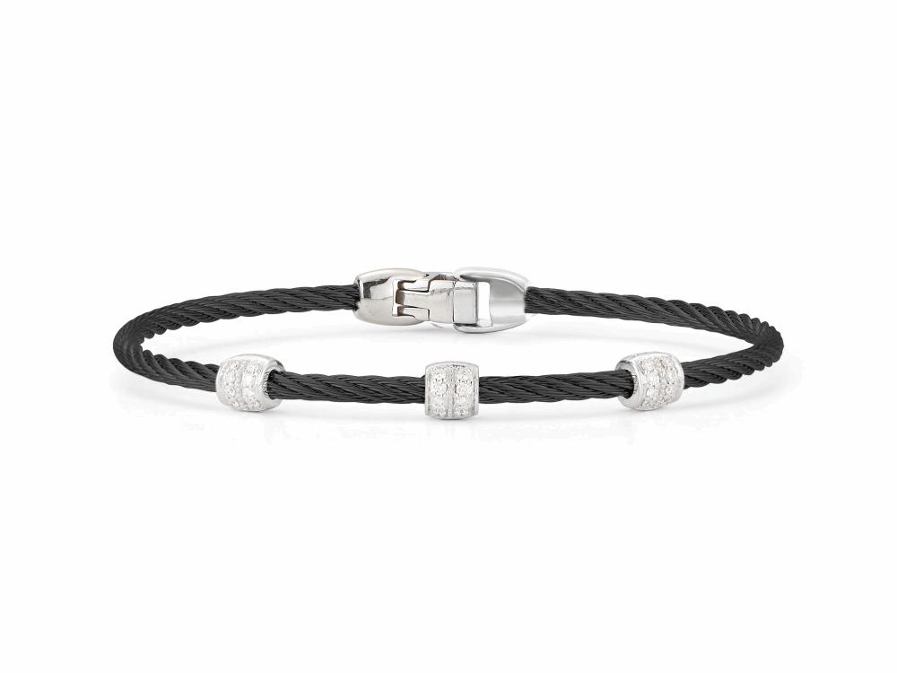 ALOR Noir Black Cable Bracelet with Triple Diamond Bead - ALOR