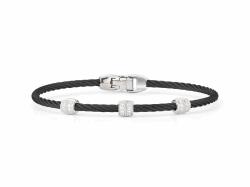 Closeup photo of ALOR Noir Black Cable Bracelet with Triple Diamond Bead - ALOR