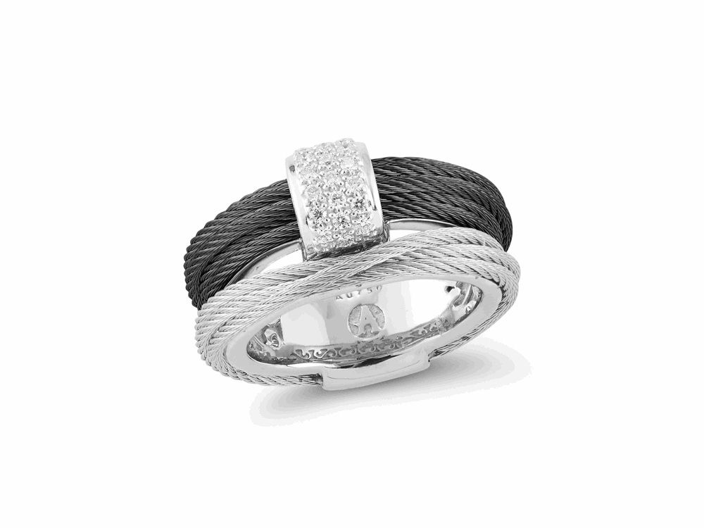 ALOR Noir Black and Steel Grey Wrap Ring with Top Diamond Accent - ALOR