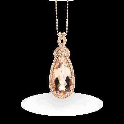 Closeup photo of Morganite Pendant With Rose Gold Lining Diamonds