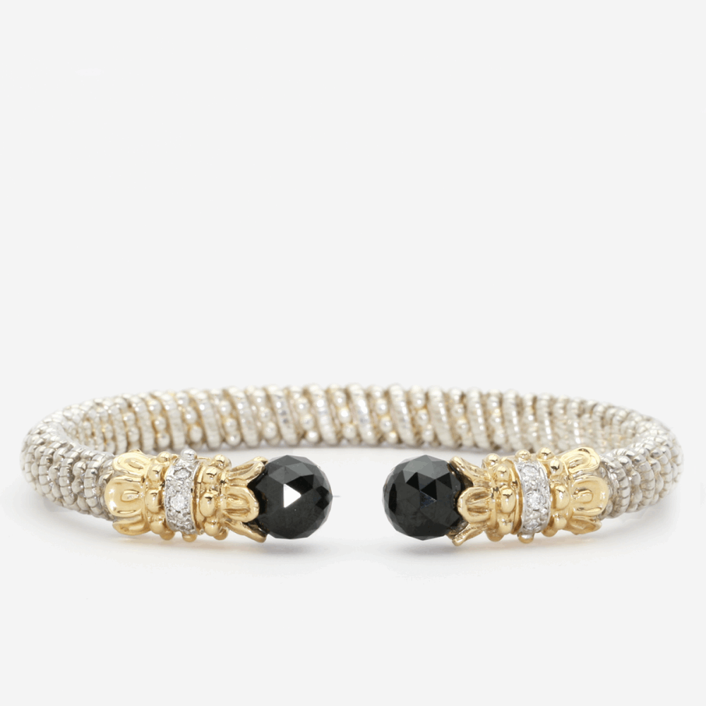 14K Gold And Sterling Silver With Pave Diamonds