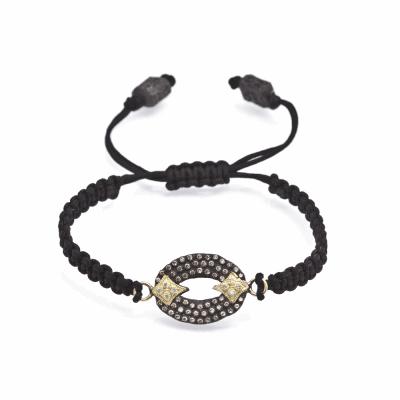 Pavé Open Oval Woven Pull Bracelet