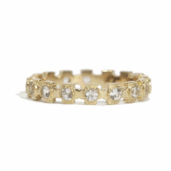 Closeup photo of Cross Stack Sapphire Ring