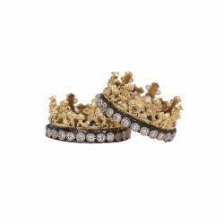 Closeup photo of Wide Scalloped Half Crown Diamond Ring