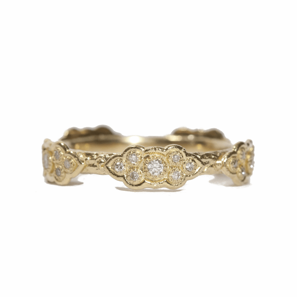 Sculpted Scroll Diamond Stack Ring
