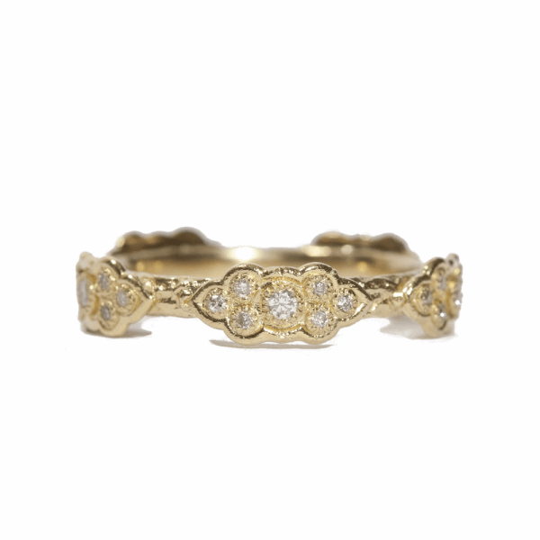 Closeup photo of Sculpted Scroll Diamond Stack Ring