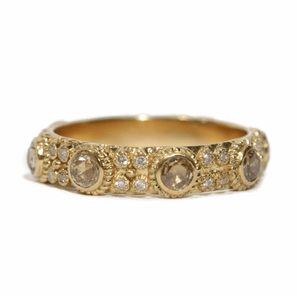 Closeup photo of Rose Cut Champagne Diamond Stack Ring