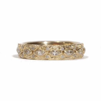 Lacy Marquis Eternity Sapphire Stack Ring