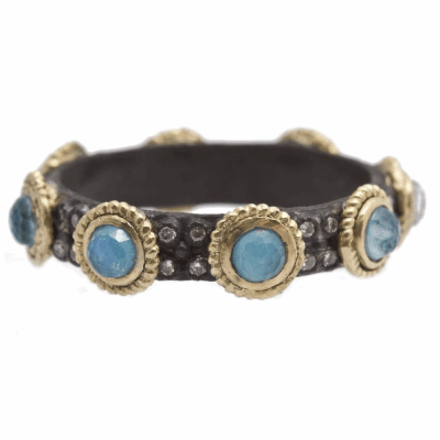 Closeup photo of Blue Turquoise Doublet Stack Band